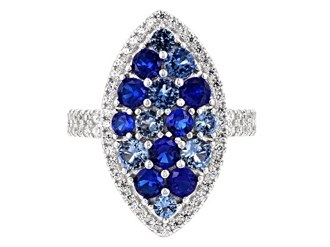 Synthetic Blue Spinel & White Cubic Zirconia Rhodium Over Sterling Silver Cluster Ring 3.71ctw