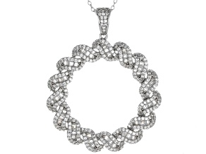 White Cubic Zirconia Rhodium Over Sterling Silver Statement Pendant With Chain 4.52ctw
