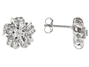 White Cubic Zirconia Rhodium Over Sterling Silver Cluster Earrings 1.46ctw