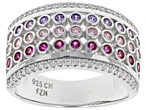 Lab Created Pink Corundum, Purple, Pink, & White Cubic Zirconia Rhodium Over Silver Ring 1.40ctw