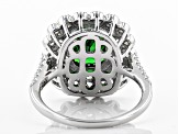 Green & White Cubic Zirconia Rhodium Over Sterling Silver Center Design Ring 4.84ctw