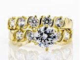 White Cubic Zirconia 18K Yellow Gold Over Sterling Silver Ring With Band 3.84ctw