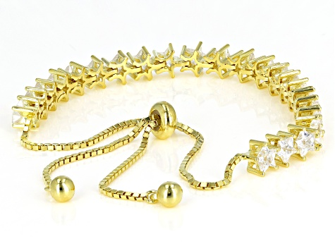 White Cubic Zirconia 18K Yellow Gold Over Sterling Silver Bracelet 7.10ctw