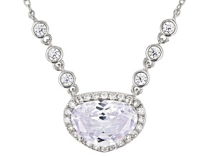 White Cubic Zirconia Rhodium Over Sterling Silver Center Design Necklace 7.65ctw