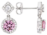 Pink & White Cubic Zirconia Rhodium Over Sterling Silver Dangle Earrings 3.84ctw