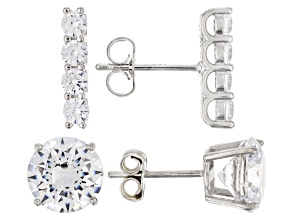 White Cubic Zirconia Rhodium Over Sterling Silver Earrings Set Of 2 8.36ctw