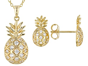 White Cubic Zirconia 18K Yellow Gold Over Silver Earrings & Pendant With Chain Set 1.09ctw