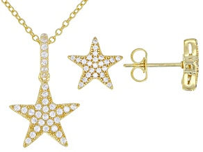 White Cubic Zirconia 18K Yellow Gold Over Sterling Silver Starfish Earrings & Pendant With Chain Set