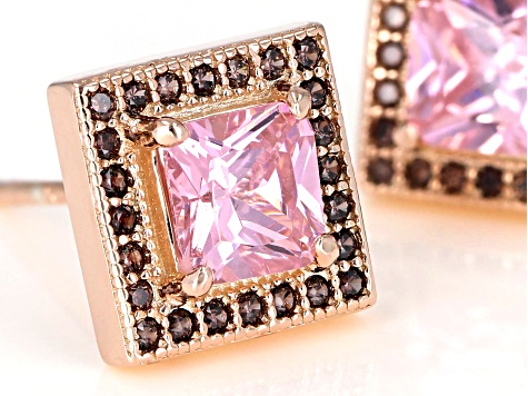 Pink & Brown Cubic Zirconia 18K Rose Gold Over Sterling Silver Center Design Earrings 2.85ctw