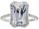 White Cubic Zirconia Rhodium Over Sterling Silver Center Design Ring 9.24ctw
