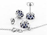 Blue Cubic Zirconia Rhodium Over Sterling Silver Center Design Earrings & Pendant With Chain