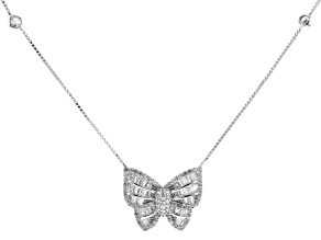 White Cubic Zirconia Rhodium Over Sterling Silver Butterfly Necklace 2.14ctw