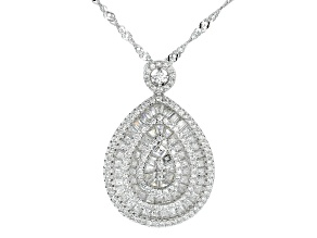 White Cubic Zirconia Rhodium Over Sterling Silver Cluster Pendant With Chain 3.76ctw