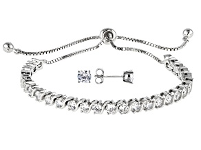 White Cubic Zirconia Rhodium Over Sterling Silver Jewelry Set Bolo Bracelet & Earrings Set 6.12ctw