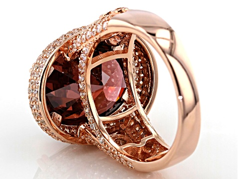Blush & White Cubic Zirconia 18K Rose Gold Over Sterling Silver Center Design Ring 14.67ctw