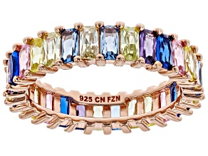 Lab Created Blue Spinel & Multicolor Cubic Zirconia 18K Rose Gold Over Silver Ring 6.76ctw