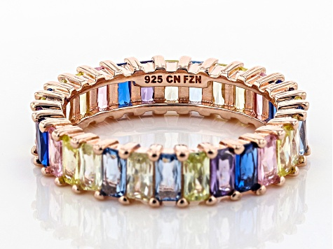 Lab Created Blue Spinel & Multicolor Cubic Zirconia 18K Rose Gold Over  Silver Ring 6 76ctw