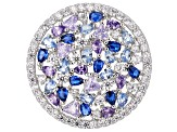 Lab Created Blue Spinel, Purple, & White Cubic Zirconia Rhodium Over Silver Cluster Ring 8.70ctw