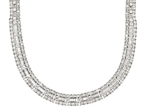 White Cubic Zirconia Rhodium Over Sterling Silver Statement Necklace 74.96CTW