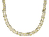 White Cubic Zirconia 18K Yellow Gold Over Sterling Silver Statement Necklace 74.96CTW