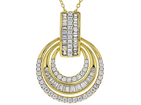White Cubic Zirconia 18K Yellow Gold Over Sterling Silver Pendant With Chain 2.48ctw