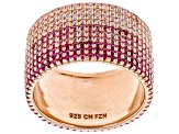 Lab Created Pink Sapphire & Pink Cubic Zirconia 18K Rose Gold Over Silver Band Ring 4.86ctw