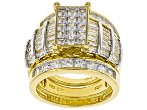 White Cubic Zirconia 18K Yellow Gold Over Sterling Silver Cluster Ring With Bands 5.98ctw