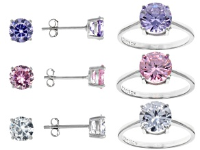White, Pink, & Lavender Cubic Zirconia Rhodium Over Sterling Silver Ring & Earrings Set 18.02ctw