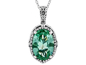 Lab Created Green Spinel Rhodium Over Sterling Silver Center Design Pendant With Chain 9.38ctw