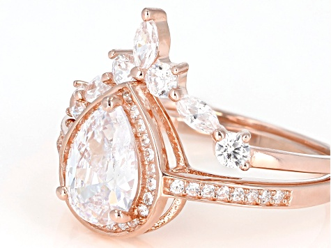 White Cubic Zirconia 18K Rose Gold Over Sterling Silver Center Design Ring With Band 3.31ctw