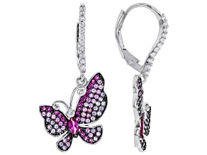 Lab Created Red Corundum/Purple/White Cubic Zirconia Rhodium Over Silver Butterfly Earrings 1.79ctw
