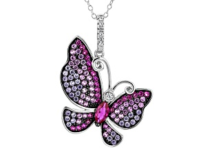Lab Created Red Corundum, Purple, & White Cubic Zirconia Rhodium Over Silver Butterfly Pendant