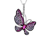 Multicolor Gemstone Simulants Rhodium Over Silver Butterfly Pendant 1.76ctw