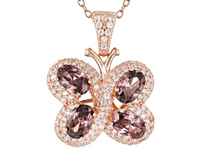 Pink & White Cubic Zirconia 18K Rose Gold Over Sterling Silver Butterfly Pendant With Chain 3.95ctw