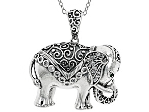 Green Nanocrystal & White Cubic Zirconia Rhodium Over Silver Elephant Pendant With Chain