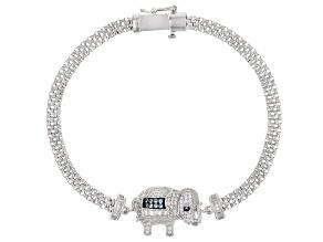 Lab Created Blue Spinel & White Cubic Zirconia Rhodium Over Silver Elephant Bracelet 1.86ctw