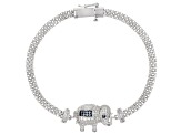 Lab Created Blue Spinel & White Cubic Zirconia Rhodium Over Silver Elephant Bracelet 1.86ctw