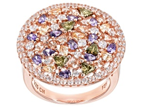 Multicolor & White Cubic Zirconia 18K Rose Gold Over Sterling Silver Cluster Ring 8.70ctw