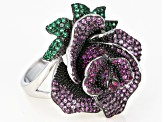 Lab Created Pink Sapphire & Green Nanocrystal Rhodium Over Silver Rose Ring 2.26ctw