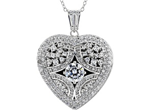 White Cubic Zirconia Rhodium Over Silver Heart & Locket Pendant With Chain 4.42ctw