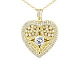 White Cubic Zirconia 18k Yellow Gold Over Sterling Silver Heart & Locket Pendant With Chain 4.42ctw