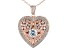 White Cubic Zirconia 18k Rose Gold Over Sterling Silver Heart & Locket Pendant With Chain 4.42ctw