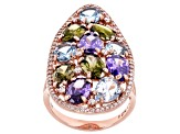 White, Green, Purple, & Blue Cubic Zirconia 18K Rose Gold Over Sterling Silver Ring 12.49ctw