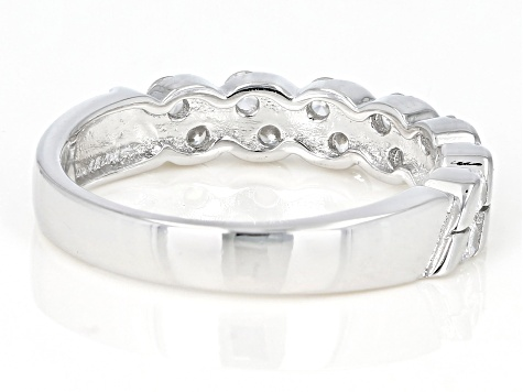 White Cubic Zirconia Rhodium Over Sterling Silver Band Ring 1.06ctw