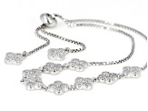 White Cubic Zirconia Rhodium Over Sterling Silver Bolo Bracelet 1.06ctw