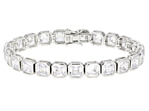 White Cubic Zirconia Rhodium Over Sterling Silver Tennis Bracelet 31.12ctw