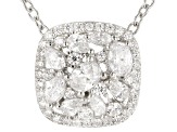 White Cubic Zirconia Rhodium Over Sterling Silver Cluster Pendant With Chain 2.11ctw
