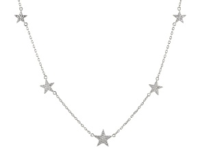 White Cubic Zirconia Rhodium Over Sterling Silver Star Necklace 0.88ctw