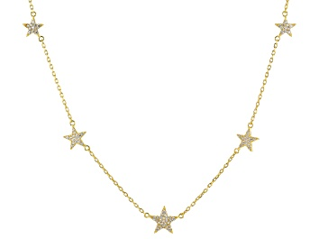 Picture of White Cubic Zirconia 18k Yellow Gold Over Sterling Silver Star Necklace 0.88ctw