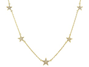 White Cubic Zirconia 18k Yellow Gold Over Sterling Star Necklace 0.88ctw